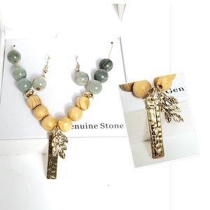 Faith charm natural stone necklace earring set